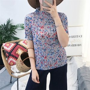 LANMREM summer vintage pleated t-shirt for famale 2020 stretch fabric high collar short sleeve tee top loose slim printed YJ610 0924