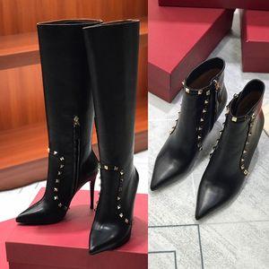 2020 neue Art und Weise Top-Frauen-Absatz-Schuhe Winter-Stiefeletten mit Kalbsleder Rivet Australien Cowboy über den Knie-Martin Knie Bottes