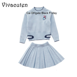 Fashion Girls Sweater + Pleated Skirts 2pcs Set Spring Autumn Children Clothing Sets Teenage Girls Knitted Sweater Suits Clothes
