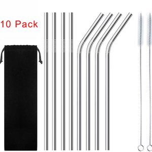 8.5 Inchies Eco-Friendly Reusable Heathy Drinking Stainless Steel Straw with Cleaning Brushes 10 Pcs Pack Metal Straw Kit