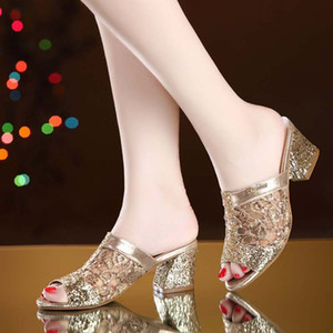 2020 Women's Sandals High Heel Fish Mouth Sandals Shoes Sequins Women's Shoes Party Holiday Leisure Sexy Thick Heel Summer