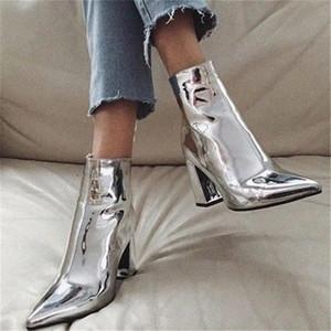 yeeloca Moda Altın Gümüş Rugan Kadınlar Bilek Boots Sivri Burun Yüksek Topuk Boots Seksi Stiletto Kadınlar jVef # pompaları