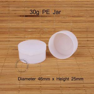 30pcs Lot Promotion 30g Plastic PE Cream Jar Empty 30ml Women Cosmetic Vial Sample Pot White Cap Small Refillable Vial