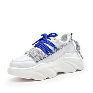 Zapatos color de moda ins Torre cuero auténtico pequeño con blanco suela gruesa Deportes Mujer hechizos informal