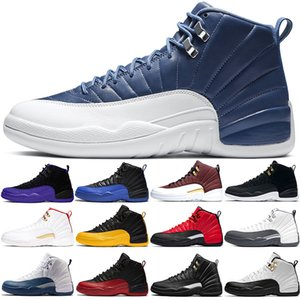 Nike Air jordan 12 Retro Zapatos de baloncesto de los hombres de la talla 12 Chaussures 12s oscuro para hombre gris del juego Blanco Entrenadores Sport zapatillas de