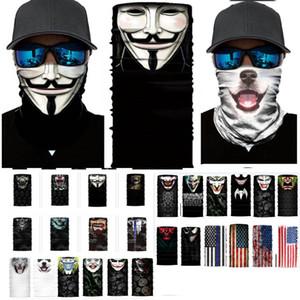 32 Styles de crâne de Halloween masque facial écharpe bandeau Joker Cagoules mascarade Masques pour le ski de moto Cyclisme Sports de plein air HH9-3219