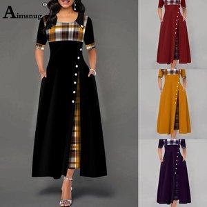 Плюс размер 4XL 5XL женщин Элегантный Длинные платья Лоскутная плед печати Бальные платья Нерегулярное дамы Vintage Кнопка A-Line платье