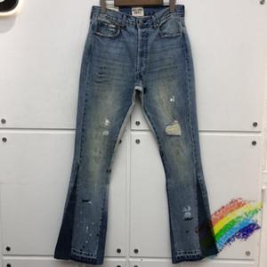 20fwss Hasar delik Sıkıntılı Denim Erkekler 1. İyi Kalite Dikiş Bootcut Jeans Denim Bell Alt Pantolon