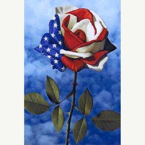 Amerika 5D DIY Elmas Nakış Bayrak Çapraz Dikiş süsleme Sevgililer hediyeler Boyama Ev İğne Diamond gül