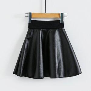 Mädchen 2019 PU-Leder-elastische Taillen-Baby-Schwarz-Rock-12M-8Y Kinder Tutu kurze Röcke Kinder Kleidung 4 Farben