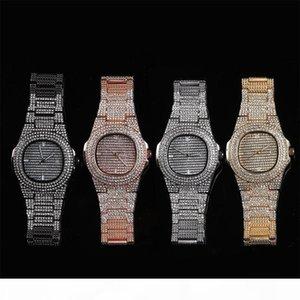Full Diamond Quartz Watches Men Hiphop Bracelet Bling Cubic Zirconia 18K Gold Plated Link Chains Mens Hip Hop Chain Jewelry