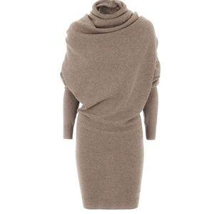 여성 Swaeater 드레스 2020 겨울 따뜻한 블랙 가을 캐주얼 Bodycon 낙타 터틀넥 울 블렌드 패션 여성 사무실 드레스