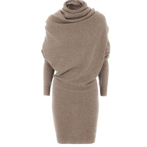 Mulheres Swaeater Vestido 2020 inverno quente Preto Outono Casual Lã Bodycon Camel Turtleneck Blends Mulheres Moda Vestido de escritório