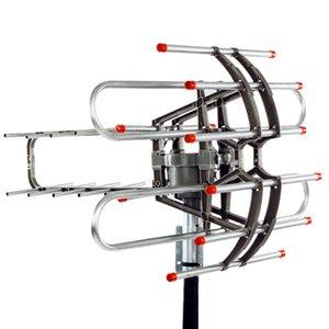 Venta HD caliente TV de la antena 360 ° de rotación UV de doble segmento 45-860MHz 22-38dB Antena exterior 110V amplificación de señal de la antena