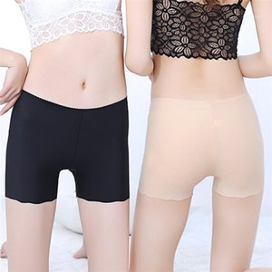 Womens Solid Color Three Point Bottoming Safety Pants Ice Silk Seamless Fit