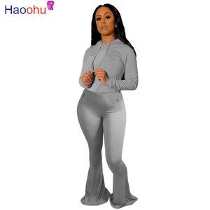 HAOOHU Активная одежда Женская Установить с капюшоном Топы Широкий ноги Flare Bellbottom штаны костюм костюм Спорт Два Piece Set Фитнес Outfit