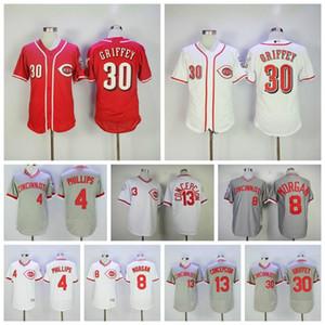 Cincinnati Baseball 4 Brandon Phillips Jersey Pullover in pensione 8 Joe Morgan 13 Dave Concepcion 30 Ken Griffey Jr maglia 09
