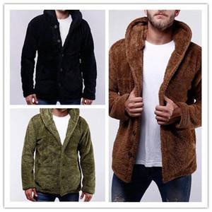 Polar Fleece Thick Long Sleeve Men Coats Mens Designer Jackets Casual Male Outerwear Men Solid Color Hooded Jackets Winter