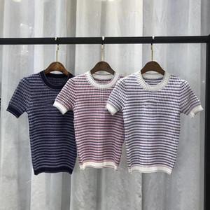 Luxe Qualité 2020 Collection piste d'été tricotée Stripped CC coton élégant Chemisier Top