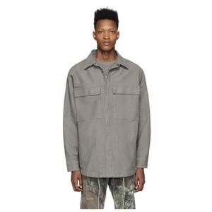 quente 20SS FG 6 de camisas de trabalho de lavagem camisa de manga longa de Moda Casual Rua solto Casacos Jacket shirts 3 cores