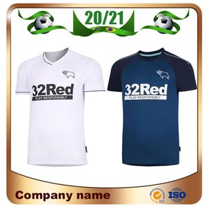 20/21 Derby County Football Club Camisas de Futebol 2020 Início branco SABEDORIA Waghorn MARTIN Futebol Camisa uniforme HAMER ROONEY Futebol