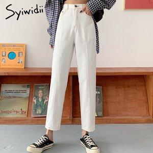 vendimia de la mujer de algodón pantalones vaqueros de los pantalones de cintura alta syiwidii harén más tamaño streetwear boyfriend jeans casuales para las mujeres blancas nuevo negro