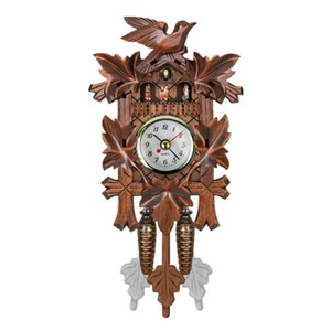 Practical Vintage Home Decorative Bird Wall Clock Hanging Wood Cuckoo Clock Living Room Pendulum Craft Art For New H