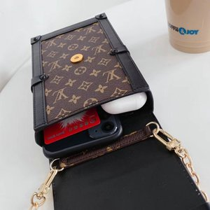 Housse cuir couvercle rabattable avec le sac de téléphone mobile universel suspendu à chaîne pour iphone 11 11Pro max Xr X max X 7 7plus 8 8plus Samsung Huawei