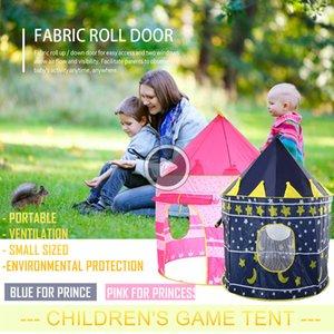 Pop Up Play Tent Pink lue Kids Castle Portale Outdoor Garden Folding Toy Tet Cildren Play ouse Ventilation Faric Roll Door Debbie