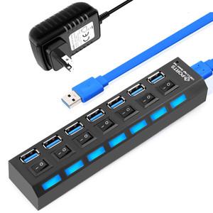 USB 3.0 HUB 2.0 HUB нескольких USB разветвитель 4/7 Port Expander Multiple USB 3 Авв Использование адаптера питания USB3.0 Hub с переключателем для PC