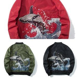 타이드 브랜드 Yokosuga 자료 공 남성의 비행 재킷 얇은 야구 유니폼 고래와 재킷을 자수 물결 바람