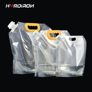 HARDIRON 대형 일회용 공예 맥주 플라스틱 포장 가방 주스 액체 음료 노란색 손잡이 투명 상임 가방