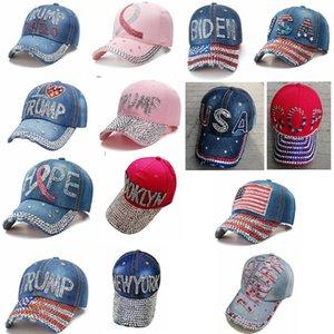 Trump campo de beisebol cap Biden 2020 EUA-presidente cap eleição cowboy cravejado chapéu ajustável moda ao ar livre denim quepe FFA4368