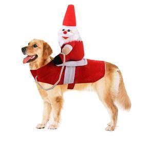 2020 fuentes del perro de Santa Claus Riding traje del animal doméstico del vaquero jinete Hípica Diseñado partido de la ropa del perro de Halloween Vestir a la Navidad