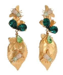 Gold Baroque Earrings for Women Insect Crystal Clip on Big Eardrop Drop Dangle Earing Brincos Oorbellen Pendientes Jewelry