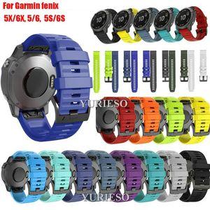Cgjxs20 / 22 / 26m Silicone Quick Release Bracelet Bracelet pour Garmin Fenix 5 5x 6 6x 5s 6s Pro Montre Easyfit Bracelet Bracelet Pour Fenix Montre
