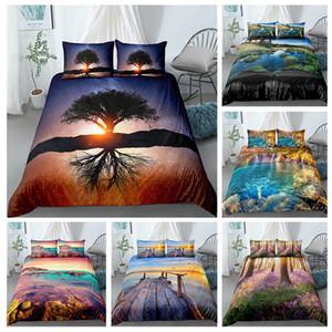 Дерево и закат пододеяльник Комплекты Пейзаж горы Beding Set Покрывало 2 / 3шт Queen King Size Large Home Textlie