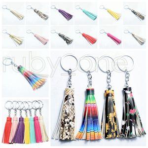 Suede Quaste Vinyl Schlüsselanhänger Tassel Keychain Beutel-Anhänger-Zubehör Frauen Tassel Schlüsselanhänger Fashion Jewelry Charm Partei-Bevorzugung RRA3497