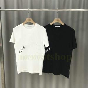 Новых летних париж мужской одежды диагонали письма печати тенниска Мода футболка женской дизайнерские футболки Повседневная Crew Neck Tee