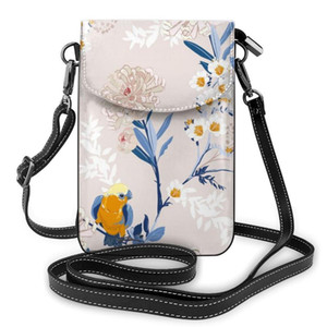Strap Bag Donne borsa OLN Vintage giapponese Fiori telefono filiali fogli cellulare borsa Smartphone Portafoglio in pelle a tracolla