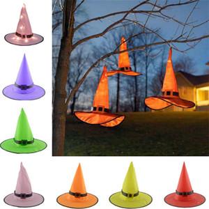 Хэллоуин светодиодные Hat Ведьма Хеллоуин костюм для взрослых женщин шлемов 6 цветов партии Реквизит костюм Halloween Black Luminous Witch Caps 100шт T1I2291