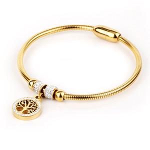 elegante del oro de 18 quilates chapado en los brazaletes de cristal de acero inoxidable para la joyería de las mujeres
