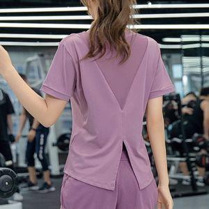 GXQIL Back Mesh Sport Shirt Woman 2020 Autumn Winter Gym Jogging Sports Top Women Furcal Breathable Fitness T-shirt Purple Black