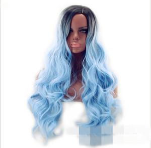 Avrupa ve Amerikan peruk moda merkezi noktası sıcak satış başlık uzun boyalı büyük dalga peruk bayan fabrika