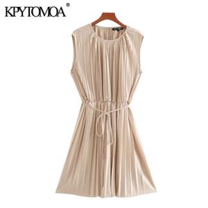 KPYTOMOA Women 2020 Chic Fashion With Belt Pleated Mini Dress Vintage O Neck Sleeveless Office Wear Female Dresses Vestidos0924