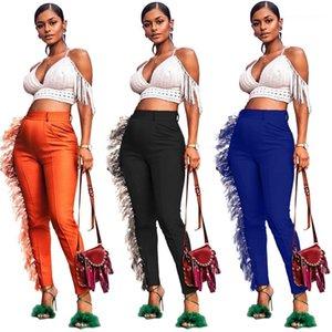 Pantaloni a matita pantaloni solidi di colore stampato Mid Wasit nappa Sweet Style Abbigliamento Abbigliamento femminile Womens Designer
