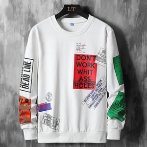 Casual manga larga de alta calidad del resorte del otoño de moda de gran tamaño camiseta de los hombres del cuello de O Camiseta Para Hombre SUPERIOR TEE hombres clothingM-5XL