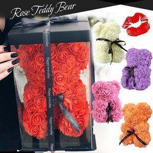 Presente de Natal Urso Flor Teddy Bear Rose Gift Natal NOVO Valentines Day Gift 25 centímetros Decoração Artificial por Mulheres Valentines