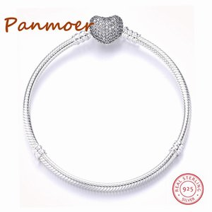Luxury Authetic 100% 925 Sterling Silver Hearts Shape Gold Color Buckle Snake Chain Charm Beads Fit pandoras Bracelet For Women