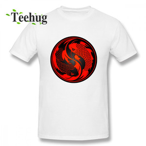Erkekler Moda Kırmızı Ve Siyah Yin Yang Koi Fish Tee Erkekler Funny Boy Saf Pamuk Homme Tee Gömlek Luck T Gömlek Yazdır 3d